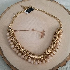 INC Blush Bead Gold Color Statement Necklace NEW